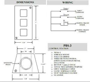 COMMERCIAL GARAGE DOOR Opener Push Button Wall Mount PBS 3