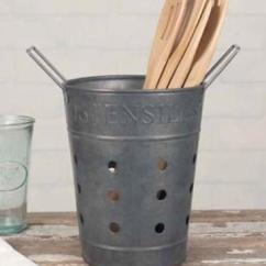 Kitchen Utensils Holder Breakfast Bar Vintage Inspired Metal Basket Caddy Utensil 1 Of 2free Shipping