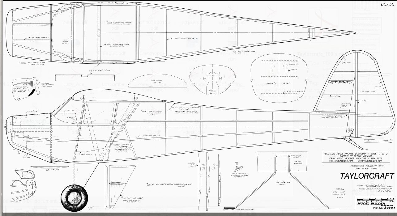 1/4 SCALE TAYLORCRAFT 9 ft Giant Scale RC AIrplane Rolled