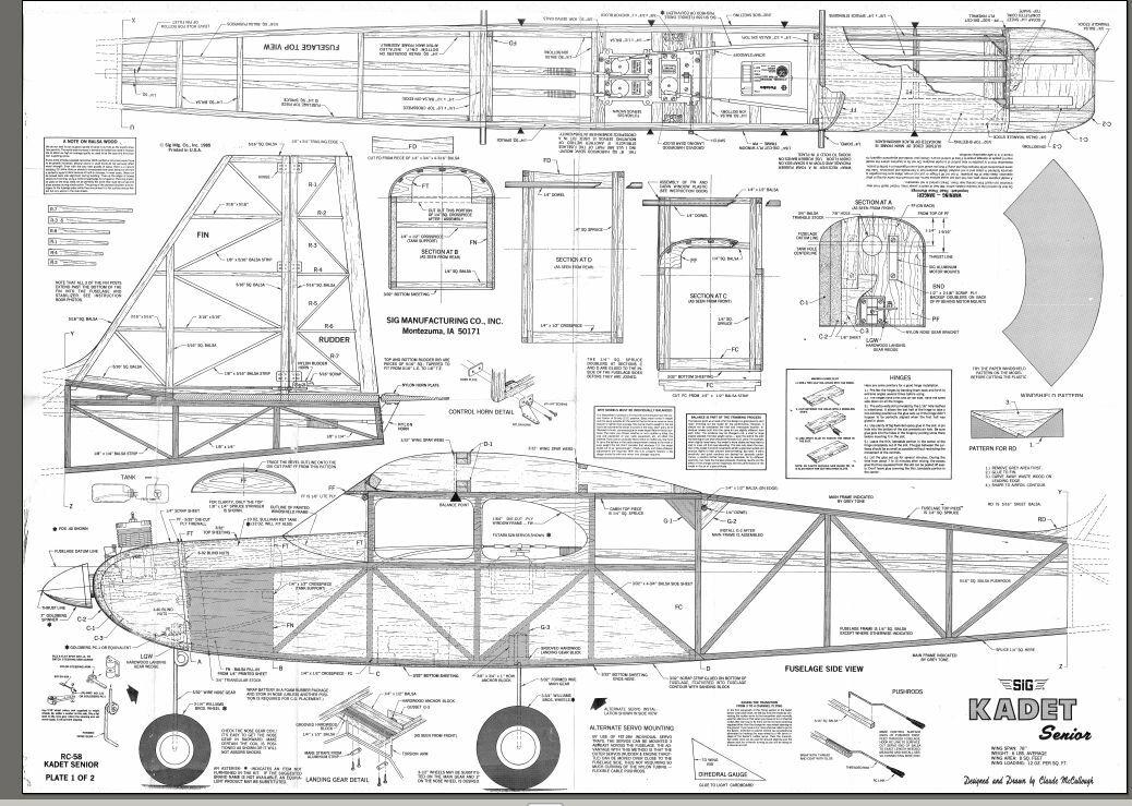 SIG KADET SENIOR Enlarger 150% Giant RC AIrplane Printed