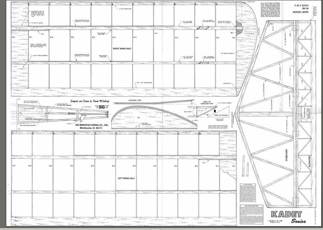 SIG KADET SENIOR Giant RC AIrplane Printed Plans
