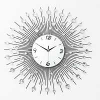 HOT CRYSTAL Jeweled Beaded Sunburst Wall Clock Silver Wire ...