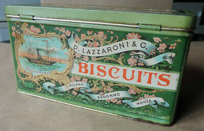 vintage ancien boite metal tole biscuits d lazzaroni c publicite