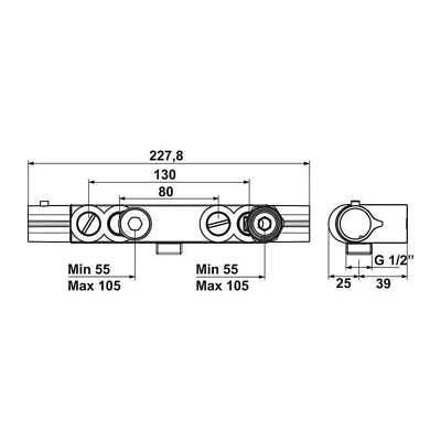mitigeur entraxe special 55 a 155 mm pour renovation mitigeur douche thermostati