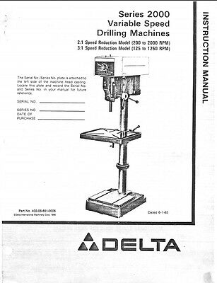 DELTA RS-15 5 Speed Shaper Instructions Manual & Parts
