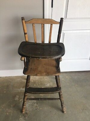 antique wooden high chair gold covers in bulk vintage wood baby feeding w tray 85 00