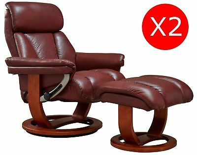 leather swivel recliner chair and stool youth folding pair of mars premium genuine footstool chestnut