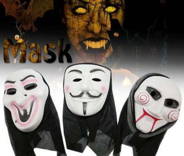 Halloween Fancy Dress Party Japanese Horror Ghost White Face Mask Costume