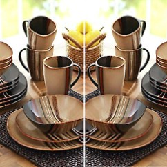 Kitchen China Dishes Cabinet Refacing Mississauga 32 Piece Square Dinnerware Set Stoneware Plates Mugs Brown