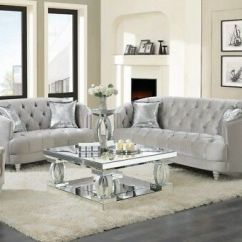 Living Room Loveseat Outdoor Furniture For Your Patio Modern Glam 2 Piece Sofa Couch Set Silver Velvet
