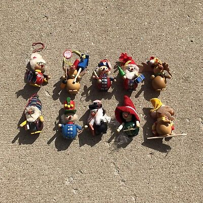 Vintage Steinbach Prafent Germany Handmade Wooden Christmas Ornaments Lot Of 10