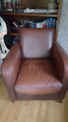 brown leather tub chair with footstool stool philippines tan and recliner retro 125 00 faux armchair dining living room