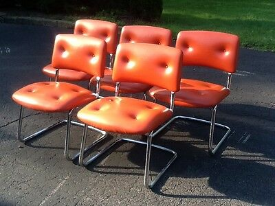 steelcase vintage chair ghost chairs south africa 5 mid century modern orange vinyl chrome very nice