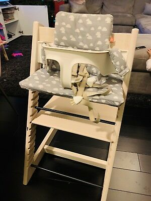 stokke chair harness 1 2 chaise tripp trapp adjustable high with baby seat and cushion