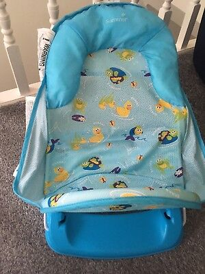 summer infant beach chair bungee office target deluxe travel baby bather pink bath support seat blue