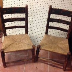 Antique Ladder Back Chairs With Rush Seats Wheelchair Volleyball Pair Of Child S Orig Painted Dec