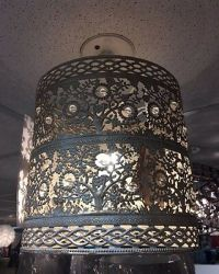 New Floral Crystal Pale Gold Pendant Light Shade Ceiling ...