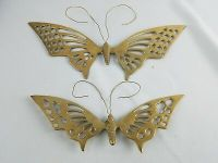 BRASS Butterfly Wall Hangings Vintage Set of 3 14 x 6 to 8 ...