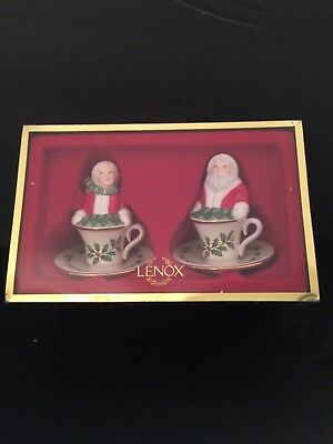 lenox christmas chair covers how to build a rocking adorable mr santa claus kitchen dining table back and mrs salt pepper tea cup shakers