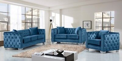 contemporary sofas and loveseats country living sofa dfs modern top quality gray velvet 3pc set loveseat chair blue room furniture couch