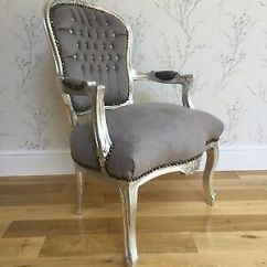 French Velvet Chair Swivel Rocker Patio Chairs Canada Louis Style Shabby Chic Grey Silver Wood Frame Diamantes
