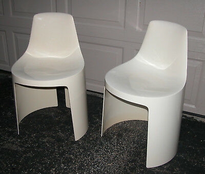 mid century modern plastic chairs metal frame leather chair rare pair white overman tango sweden kartell