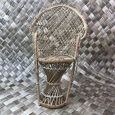 fan back wicker chair gray slipcover vintage vtg mini peacock rattan 16 plant stand boho