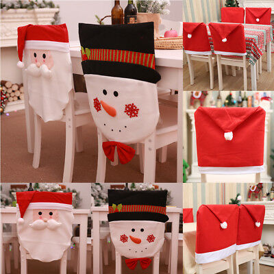 chair cover christmas decorations red modern santa claus snowman for home back