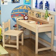 Study Desk And Chair Spin Bike Adjustable Children S Set Child Kids Table With Height Solid Wood Hutch For