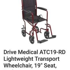 Transport Chair Walgreens Big Man Camping Medline Ultra Light Burgundy Up To 300 Lbs Drive Medical Aluminum 19