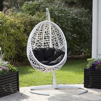 hanging outdoor chairs plastic costco egg patio chair furniture swing white resin wicker cushion frame