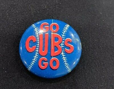 """Go Cubs Go (1960s) 7/8"""" Vintage Chicago Cubs Baseball Booster Pin-Back Button"""