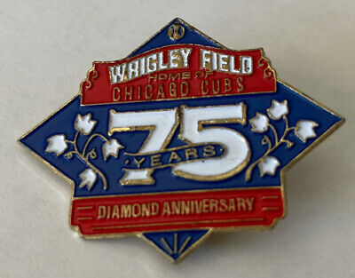 Vintage Baseball Hat Lapel Pin Wrigley Field Home Of The Chicago Cubs 75 Years