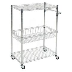 Wire Kitchen Cart Primitive Cabinets 3 Tier With Baskets And Handles Trolley Locking Wheels