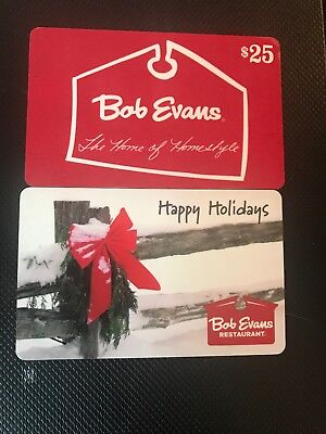 2 25 Gift Cards 50 Total Bob Evans Restaurant Un Free Shipping