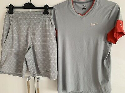Nike Tennis Roger Federer French Open Outfit 2014 Set Polo Shirt&Short Small