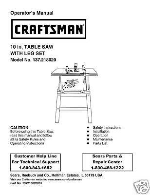 Craftsman Table Saw 113298 Manual
