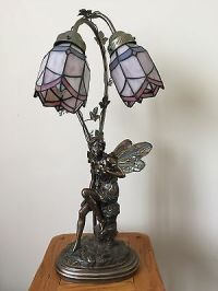 Ornate Tiffany-Style Fairy Table Lamp with Glass Stained ...