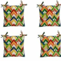 Wicker Chair Cushions With Ties Discount Beach Chairs In Outdoor Foam Seat Cushion W Splish Splash Fish Choose Size Set Of 4 Multi Colored Chevron Tufted Patio