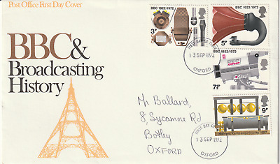 13 September 1972 Bbc Broadcasting Post Office First Day Cover Oxford Fdi