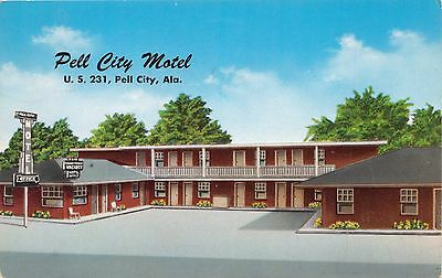Pell City Alabama Motel US 231 & 78 Postcard c1962