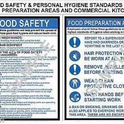 Kitchen Signs For Work Track Lighting In Food Health Safety 2 A4 Commercial Cafe Canteen Factory