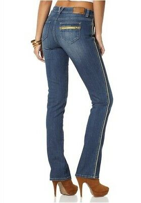 Arizona Jeans Piping NEW Short-Gr.17-20 Ladies Trousers Blue Used Stretch Denim L30