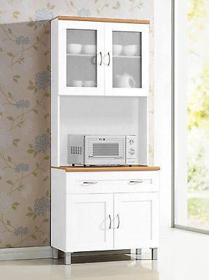 white tall microwave cabinet stand