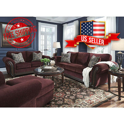 7 piece living room package navy rug ashley chesterbrook burgundy free shipping sofa loveseat chair ottoman coffee 2 end tables