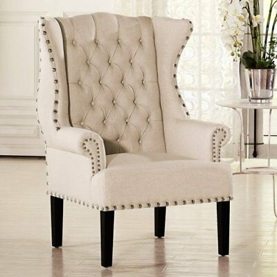 upholstered chair with nailhead trim diy wooden seat replacement tall wingback tufted club silver wood legs new