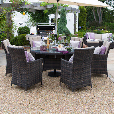 rattan garden dining chairs uk modern grey leather chair nova amelia 6 seat outdoor furniture 1 3m round patio brown la 35m set