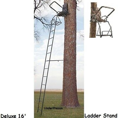 swivel chair tree stand marble rail ladder 16 deer hog game hunting supplies treestand rifle cross bow big new