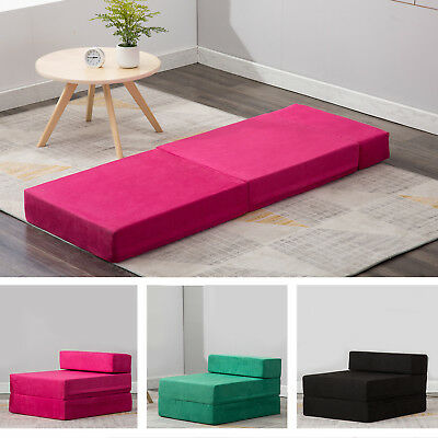 folding foam bed chair shower chairs with arms sleeper mattress floor ottoman seat single guest futon