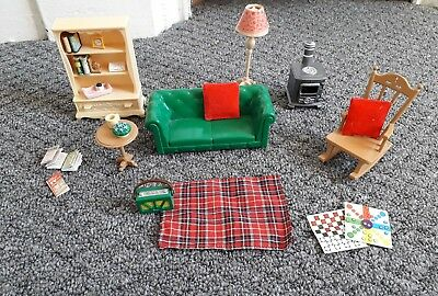 cosy living room with log burner color ideas grey furniture sylvanian families set sofa rocking chair